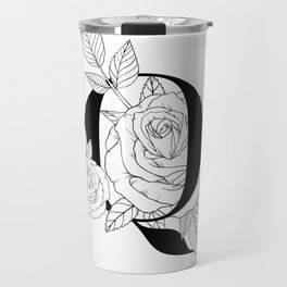 Monogram Letter O with Rose Line Art  Travel Mug