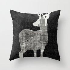 Deer City Collage 3 Throw Pillow