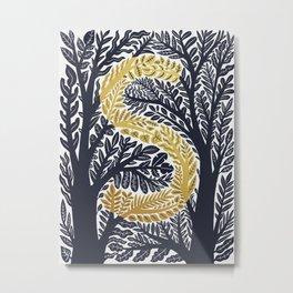 Botanical Metallic Monogram - Letter S Metal Print