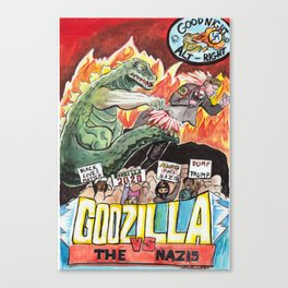 Godzilla vs The Nazis Canvas Print