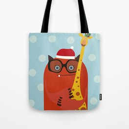 Holiday illustration with red monster and giraffe Tote Bag