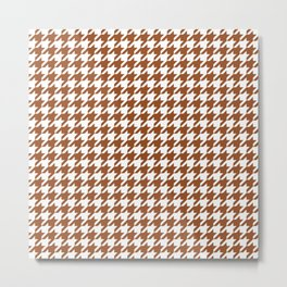 Brown Houndstooth Pattern Metal Print