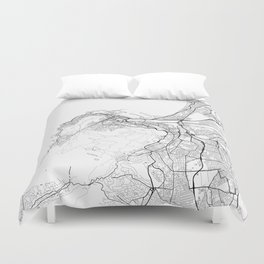 Cape Town Map White Duvet Cover
