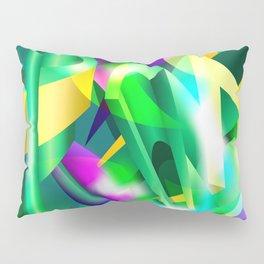 GREEN-ACID Cubism Abstract Digital Art Pillow Sham