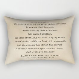 Ayn Rand Quote 2 - Typewriter Quote on Old Paper - Minimalist Literary Print Rectangular Pillow