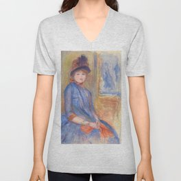"""Pierre-Auguste Renoir """"Young Girl in a Blue Dress"""" Unisex V-Neck"""