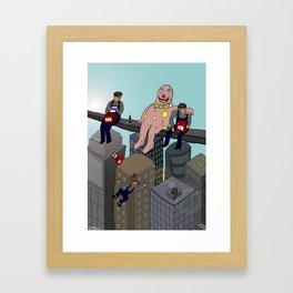 Mr Blobby atop a skyscraper Framed Art Print