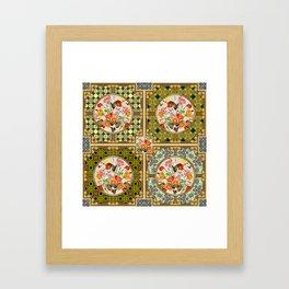 Persian Tile Butterfly Variation Framed Art Print