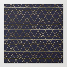 Modern Gold Navy Blue Canvas Print