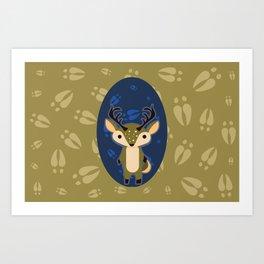 Deer with Hoof Prints Art Print