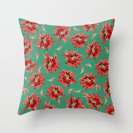 Red Christmas Flowers on Green Botanical Floral Pattern Throw Pillow