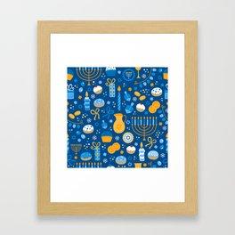 Hanukkah Happy Holidays Pattern Framed Art Print