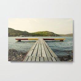 Pier in Caribbean lake Metal Print