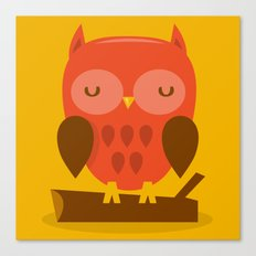 Super Cute Woodland Creatures Owl Canvas Print