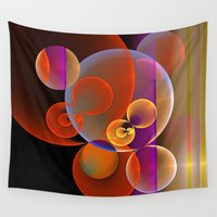 transparent Wall Tapestries featuring Colourful transparent bubbles by thea walstra