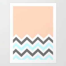 Color Blocked Chevron 11 Art Print