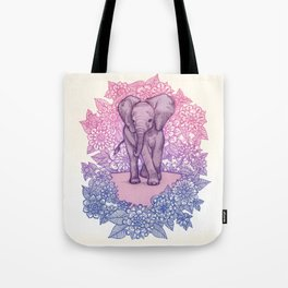 Cute Baby Elephant in pink, purple & blue Tote Bag