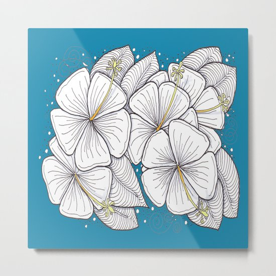 Zentangle Blue and Gold Hibiscus Blossoms for Flower Lovers Metal Print