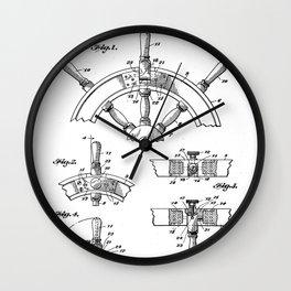 Ships Wheel Patent - Boat Wheel Art - Black And White Wall Clock