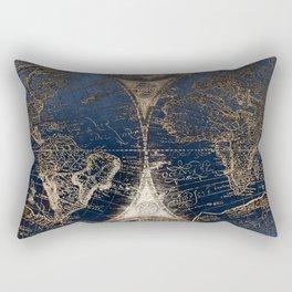 World Map Deep Blue and Gold Rectangular Pillow
