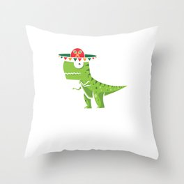 Cute T-Rex With Sombrero Cinco De Mayo Mexican Cool Design Gift Throw Pillow