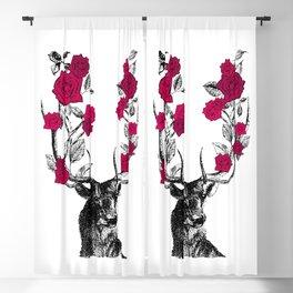 The Stag and Roses | Deer and Flowers | Red | Vintage Stag | Vintage Deer | Antlers | Woodland | Blackout Curtain