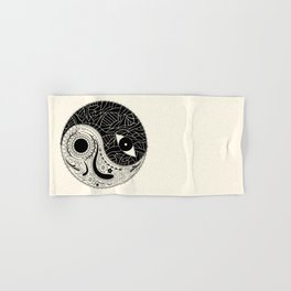 Yin & Yang - [collaborative art with Magdalla del Fresto] Hand & Bath Towel