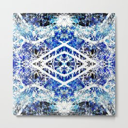 Distorted Nature in Blue Metal Print