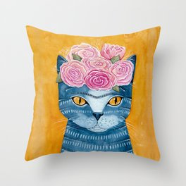 Frida Catlo in Blue Throw Pillow