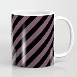 Eggplant Violet and Black Diagonal RTL Stripes Coffee Mug