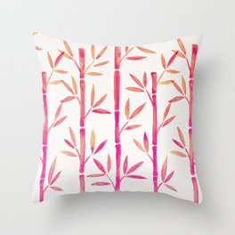 Bamboo Stems – Pink Palette Throw Pillow