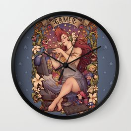 Gamer girl Nouveau Wall Clock