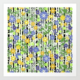 Yellow green floral pattern on a striped background. Art Print