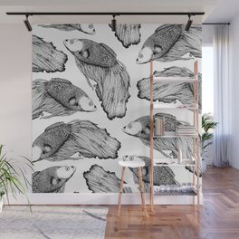 Siamese fighting fish pattern Wall Mural