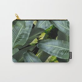 Topical palm leaf, banana leaf, black background, greens, Beach Hawaii decor Carry-All Pouch