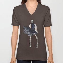 skeleton in leather & fur Unisex V-Neck