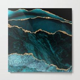 Teal & Gold Agate Texture 02 Metal Print