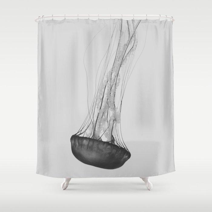 Black & White Jellyfish Shower Curtain by jengrantham | Society6