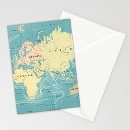 Vintage Map of The World (1845) Stationery Cards