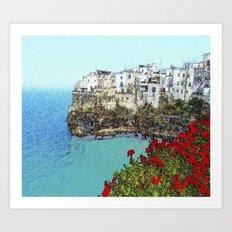 village on the sea Art Print