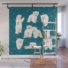 Cute Polar Bear Cubs Wall Mural