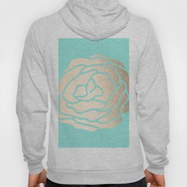 Rose in White Gold Sands on Tropical Sea Blue Hoody