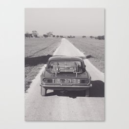 Triumph spitfire on a gravelly road in southern Italy, english sports car, fine art photography Canvas Print