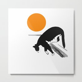 Cat Jumping Down Minimalist Scene Illustration #decor #society6 #buyart Metal Print