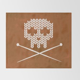 Knitted Skull - White on Orange Throw Blanket