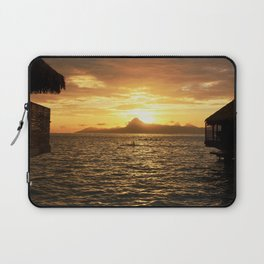 Tahiti Sunset with Kayakers over Water Laptop Sleeve
