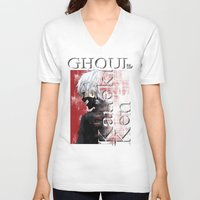 tokyo ghoul V-neck T-shirts featuring Kaneki Ken - Ghoul by 666HUGHES