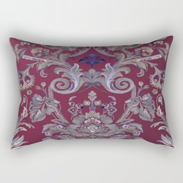 Painted Tibetan Brocade red Rectangular Pillow