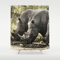 rhino Shower Curtains featuring Rhino by Rebeca Anafe