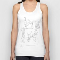 rabbits Tank Tops featuring Musical Rabbits by Ryan van Gogh